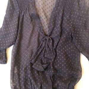 Daniel Rainn Sheer polka dot blouse